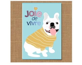 Joei de Vivre Dog Magnet, French Bulldog Magnet, Dog Fridge Magnet, Dog Lover Gift, Tie, Graduation Gift, Pet Lover Gift, Joy Magnet