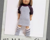 "18"" Doll Clothes, AG doll clothes- Grey/eggplant T shirt Dress  fits 18"" dolls like American Girl, Maplelea"