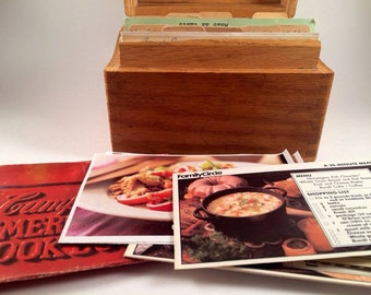 OOAK Mid Century Modern 1963 Handmade Recipe Card Holder Texas Wood Campbell's Mom's Grandma's Home cooking Family