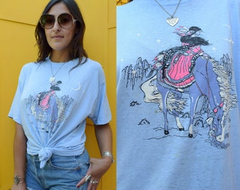 Vintage 80s NATIVE AMERICAN Girl on Horse Graphic Paper Thin Tee L