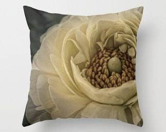 Beige Flower 16 x 16 Pillow Cover ***Sale***