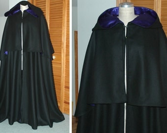 Highway Man Black Wool Cloak with Cape and Hood - Made by Order