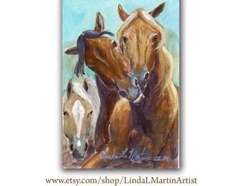 Horses Playing Artwork  Acrylic LLMartin Original Watercolor Painting- Virginia Country