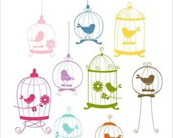 ON SALE Digital clip art. bird, COLOUR 9 Birds and birdcages , Instant Download