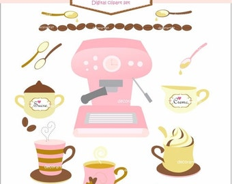 ON SALE Digital clip art coffee cup, Coffee clip art, instant download
