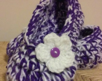 Girls Crochet Purple Slippers   Purple Crochet Slippers   Hand Crochet Slippers   House Shoes   Crochet Booties   Slippers