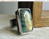 Clearance Labradorite Ring, Big Gemstone, Blue Green, Sterling Silver, Statement Ring, Rectangle Bezel Set Stone