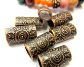 16  Antique copper beads jewelry findings leather bracelet supply  8mm x 14mm x 6mm OVAL hole W6