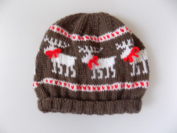 Knitting Pattern Reindeer Hat : Knit Childs Reindeer Hat Reindeer Beanie Christmas Hat