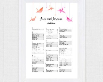 paper crane wedding seating chart - printable seating plan origami bird asian japanese inspired modern reception seating assignment