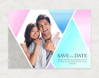 geometric wedding photo save the date engagement announcement - diy printable - urban watercolour effect diamond custom - concrete & candy