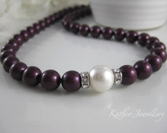 Kate- Bridal Berry and White pearl Necklace .Swarovski Berry pearl Necklace . Bridesmaids pearl Strand Bridal necklace.