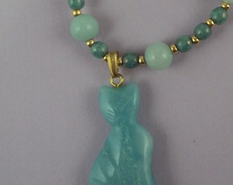 Sweet, Small Amazonite Cat Necklace