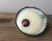 Boho fused glass statement gypsy ring- geode