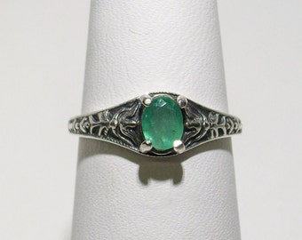 Vintage Sterling Silver ring Upcycled with a Natural Emerald ~ Size 4.5 ~ mrfeld ~ FJS25