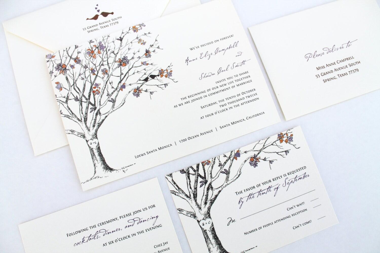 Love Birds Wedding Invitations Rustic Wedding Invitations