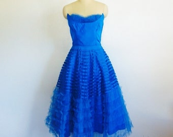 50s tulle strapless COBALT BLUE prom dress size small