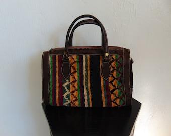 80s KILIM satchel speedy bag cotton suede