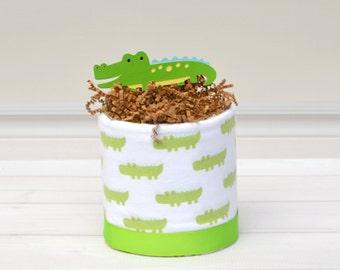 Alligator Baby Shower - Alligator Diaper Cake - Mini Diaper Cake - Small Baby Gift - Baby Shower Gift - Gifts for Baby Boy - Later Gator