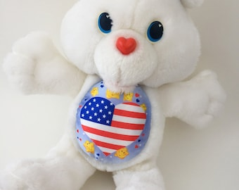 Vintage Patriotic Proud Heart Environmental Care Bear Plush 1991