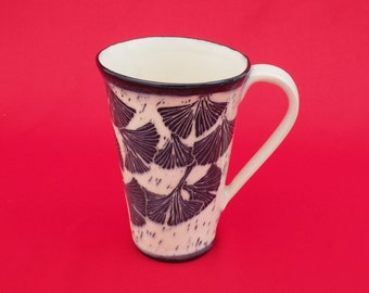 Handmade ceramic coffee mug - hand carved ginkgo leaves - stoneware mug - ceramic tea cup - sgraffito mug - pottery mug - black & white mug