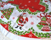 """Vintage Christmas Tablecloth - Santa Tree and Bells - 56"""" Round NOS"""