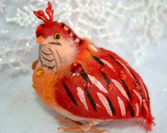 Vintage Spun Cotton Bird - Large Red Sequined Partridge