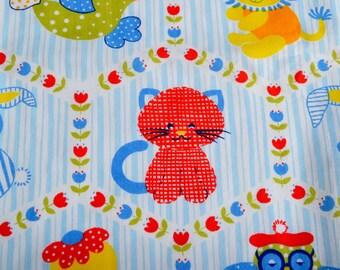 Vintage Fabric - Calico Nursery Animals Blue Stripe - 46 x 35