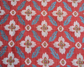 Brunschwig and Fils Fabric - Foglia Figured Woven Upholstery Red and Blue - 24 x 26 Sample Size