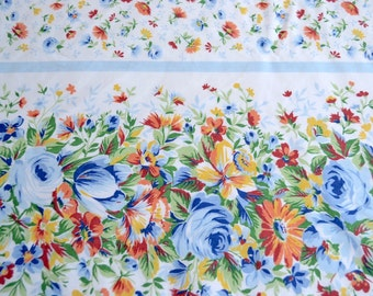 Vintage Bed Sheet - Blue Roses and Rust Flowers - King Flat