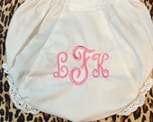 Monogrammed Diaper Covers Bloomers Size 0-6-12-18-24-2T White Diaper Cover Personalized