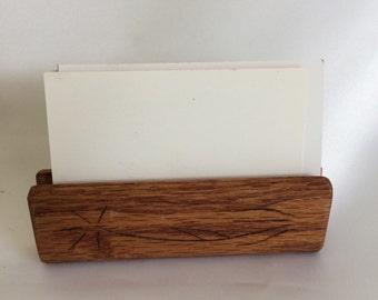 Vintage Wood Business Card Holder