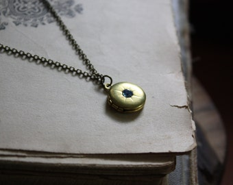 Starburst Locket  - Bohemian Locket - Raw Brass Round Locket