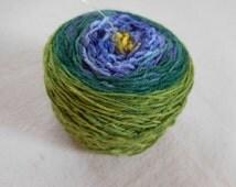 Iris Gradient Sock Yarn -- Green, Purple, Yellow-- Superwash Merino and Nylon Blend Fingering Weight