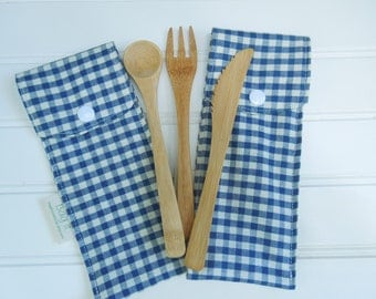 Reusable bamboo cutlery and carrying pouch  - Picnic cutlery case - Flatware pouch - Bamboo cutlery - Checkers