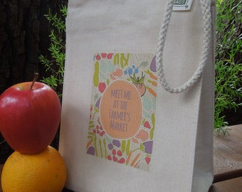 Recycled cotton lunch bag - Canvas lunch bag - Small project bag - Meet me at the farmers market #1