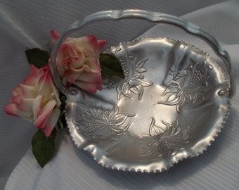 Beautiful Forged Aluminum Scalloped Floral Basket - Home Decor - Vintage - Shabby Chic