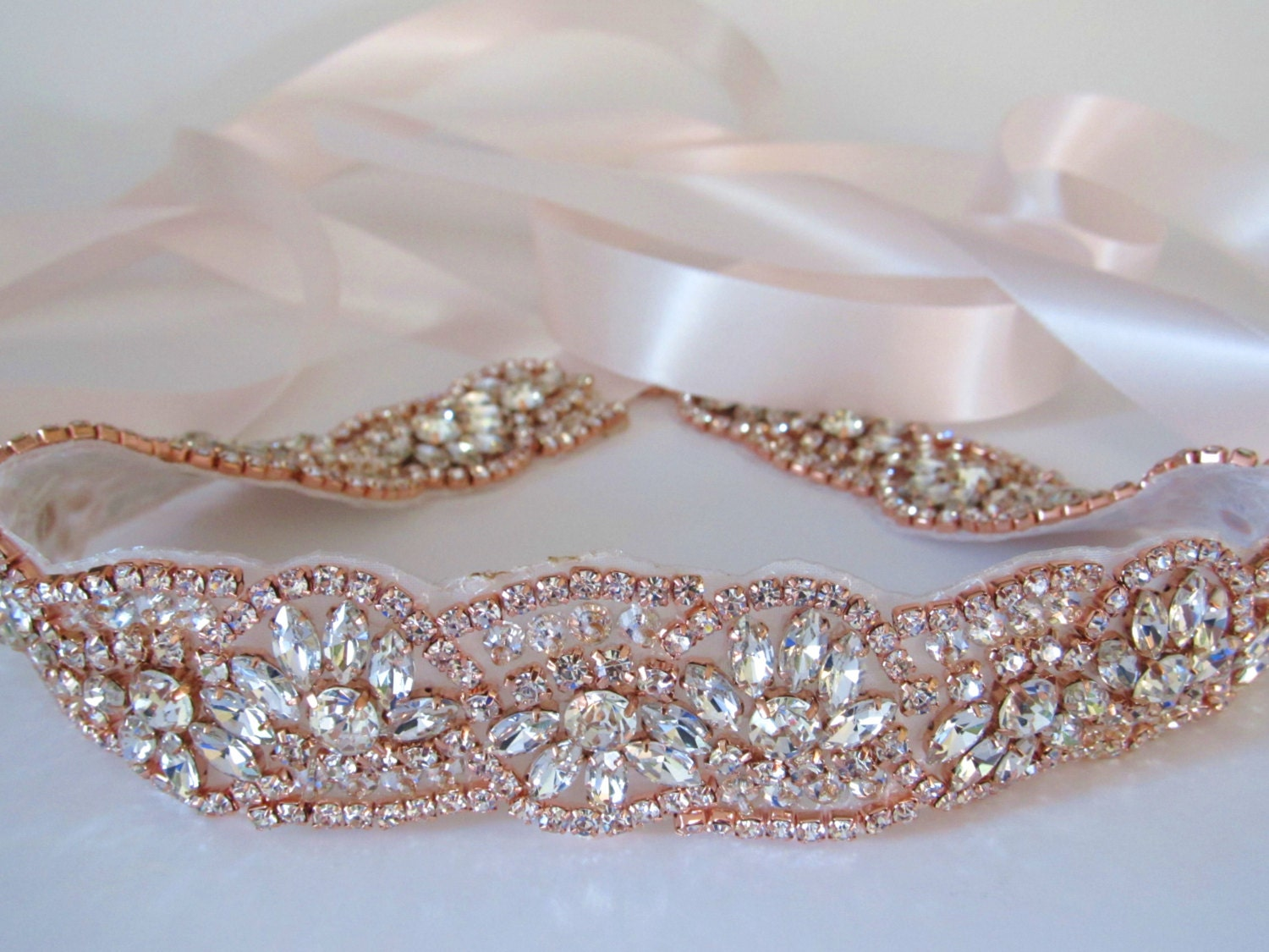 Rose Gold Crystal Rhinestone Bridal Sash,Wedding sash,Bridal Accessories,Bridal Belt and sashes,Ribbon Sash,Style #46