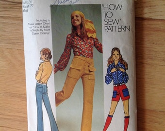 70s Simplicity 9523 Hip Huggers and Long Sleeve Blouse