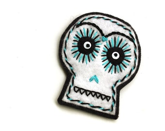 White Sugar Skull Patch, hand embroidered on felt, teal and black embroidery, wool felt Halloween skull applique