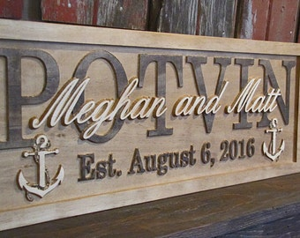Personalized wedding gift etsy personalized wedding gift personalized family name signs anchors sea carved custom wooden sign last name anniversary negle Images