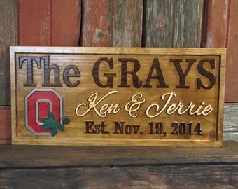 Personalized Wedding gift Sign Man Cave Custom Carved Wood Painted Sport Team Logo NFL Football Family Last Name Sign Couples Camper Plaque