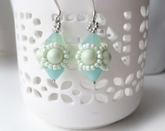 Beaded Earrings with Swarovski Pearls and Crystals in a Pastel Green Theme