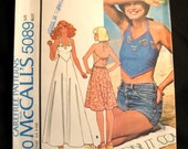 Vintage 1976 super cute halter dress and/or top with embroidery transfer sewing pattern McCALL'S 5089 size 12