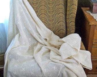 Vintage Handmade Crochet Coverlet - Throw - Blanket - Cream Cotton - Simple Geometric