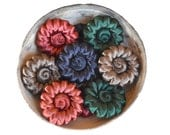 SALE - n.12 Vintage round silk trim buttons, flower shaped