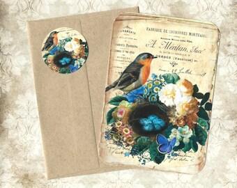 Note Card Set, Nesting Bird, Flowers, Bird Note Cards, Nature, Bird Lover, Stickers