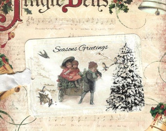 Tags, Christmas Gift Tags, Children in Snow, Vintage Style, Seasons Greetings