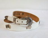 Vintage White southwestern Leather Belt by Silver Creek size 32
