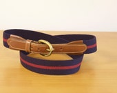 Vintage Mens blue cavas belt with burgundy stipes and brown leather by Brooks Brothers size 40